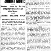Police stop Sunday movie at Dreamland, Oliver servers injunction on police, article (Tonawanda News, 1915-05-10).jpg