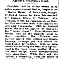 A novel action, suit over miscarriage, turned away from Backer house, article (Rochester Democrat and Chronicle, 1886-11-24).jpg