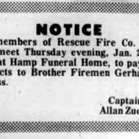 Goerss funeral draws Rescue Fire Company 5, notice (Tonawanda Evening News, 1971-01-21).jpg