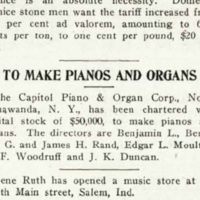 To Make Pianos and Organs, Capitol Piano & Organ Corp. chartered, article (Music Trade Review, 1921-04-02).jpg