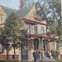 Residence of EH Santee, North Tonawanda, illustrated postcard.JPG