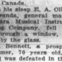 Niagara MIMC manager E.A. Olley cut sleepwalking, article (Batavia Daily News, 1911-11-03).jpg